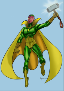The Vision and M'jolnir.